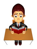 3D Business man Mascot read in one´s leisure hours. Work and Jo Royalty Free Stock Images