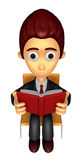 3D Business man Mascot read at random. Work and Job Character De Stock Image