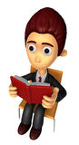 3D Business man Mascot read at random. Work and Job Character De Royalty Free Stock Photography
