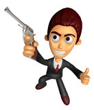 3D Business man Mascot the right hand best gesture and left hand Royalty Free Stock Image