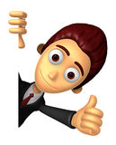 3D Business man Mascot the right hand best gesture and left hand Stock Photography