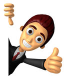 3D Business man Mascot the right hand best gesture and left hand Stock Photo