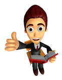 3D Business man Mascot the right hand best gesture and left hand Stock Images