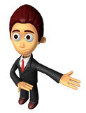 3D Business man mascot Suggests the direction. Work and Job Char Royalty Free Stock Image