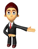 3D Business man mascot Suggests the direction. Work and Job Char Stock Image