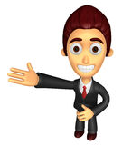 3D Business man mascot Suggests the direction. Work and Job Char Stock Photo