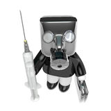 3D Business man Mascot syringe and medicine. 3D Square Man Serie Stock Photo