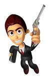 3D Business man Mascot is taking pose a gunfight. Work and Job C Stock Photos