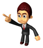 3D Business man Mascot To point the finger at the angry look. Wo Stock Images