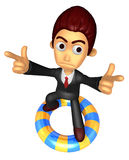 3D Business man Mascot To point the finger at you with both hand Stock Photos