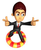 3D Business man Mascot To point the finger at you with both hand Royalty Free Stock Photos