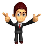 3D Business man Mascot To point the finger at you with both hand Royalty Free Stock Image