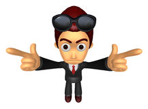 3D Business man Mascot To point the finger at you with both hand Royalty Free Stock Photo