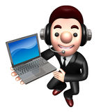 3D Business man Mascot to promote Laptop Royalty Free Stock Images