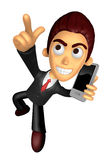 3D Business man Mascots to jump out of the phone. Work and Job C Royalty Free Stock Photos