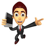 3D Business man Mascots to jump out of the phone. Work and Job C Stock Photography