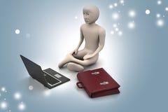 3d business man in meditation Stock Photos