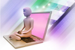 3d business man in meditation. In color background Royalty Free Stock Image