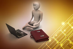3d business man in meditation. In color background Stock Photography