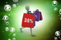 3d business man with offers and bag. In color background Royalty Free Stock Image