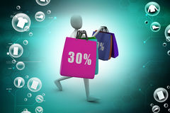3d business man with offers and bag. In color background Stock Photo