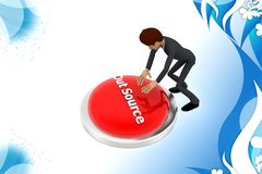 3d  character trying to hit out source button illustration Royalty Free Stock Photography