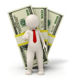 3d business man - pack of money - thumbs up. 3d rendered business man standing in front of one hundred dollar packs Royalty Free Stock Photos