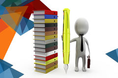 3d 3d man with pen and books  illustration Royalty Free Stock Photos