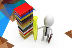 3d 3d man with pen and books  illustration Stock Image