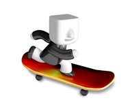 3d business man playing on the skating board. 3D Square Man Seri Royalty Free Stock Photos