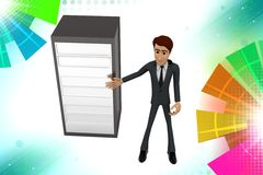3d  character  presenting server illustration Royalty Free Stock Photo