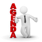 3d business man presenting concept of agenda. White background Stock Photo