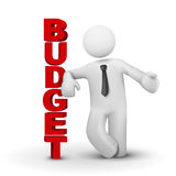 3d business man presenting concept of budget. White background Royalty Free Stock Photos