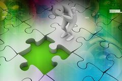 3d business man with puzzle piece Royalty Free Stock Images