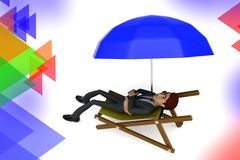 3d  character taking rest illustration Stock Photography