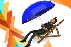 3d  character taking rest illustration Stock Image