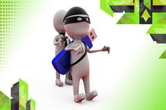 3d business man robbing robber illustration Stock Images