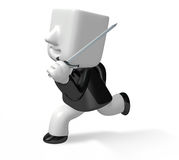 3d business man running with a sword and briefcase Stock Photos