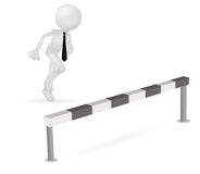 3d business man running to jump. Illustration of 3d business man running to jump through a barrier Royalty Free Stock Images