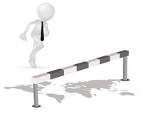 3d business man running to jump. Illustration of 3d business man running to jump through a barrier Stock Images