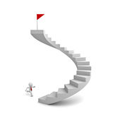 3d business man running to the red flag on top of the stairs. Over white background Royalty Free Stock Photography