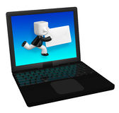 3d business man sanding letter in laptop. 3D Square Man Series. Stock Images
