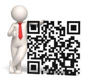 3d business man showing thumbs up near a QR code. 3d rendered business man showing thumbs up near a big 3d matrix barcode aka QR code Stock Photos