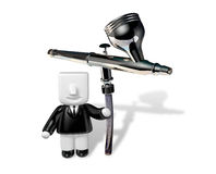 3d business man sitting on the airbrush . 3D Square Man Series. Royalty Free Stock Photography