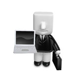 3d business man sitting on the laptop. 3D Square Man Series. Royalty Free Stock Photo