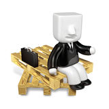3d business man sitting on wood pile. 3D Square Man Series. Royalty Free Stock Photography