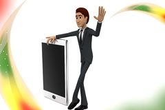 3d character visualizing smartphone illustration Royalty Free Stock Photos