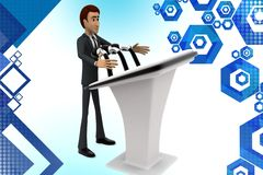 3d  character presenting speech illustration Royalty Free Stock Photo