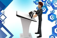 3d  character presenting  speech illustration Royalty Free Stock Image