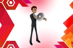 3d business man coveying message through megaphone illustration.  Stock Photo